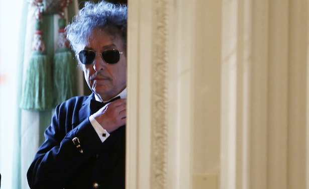 Musician Dylan waits backstage prior to Presidential Medal of Freedom ceremony in the East Room of the White House in Washington